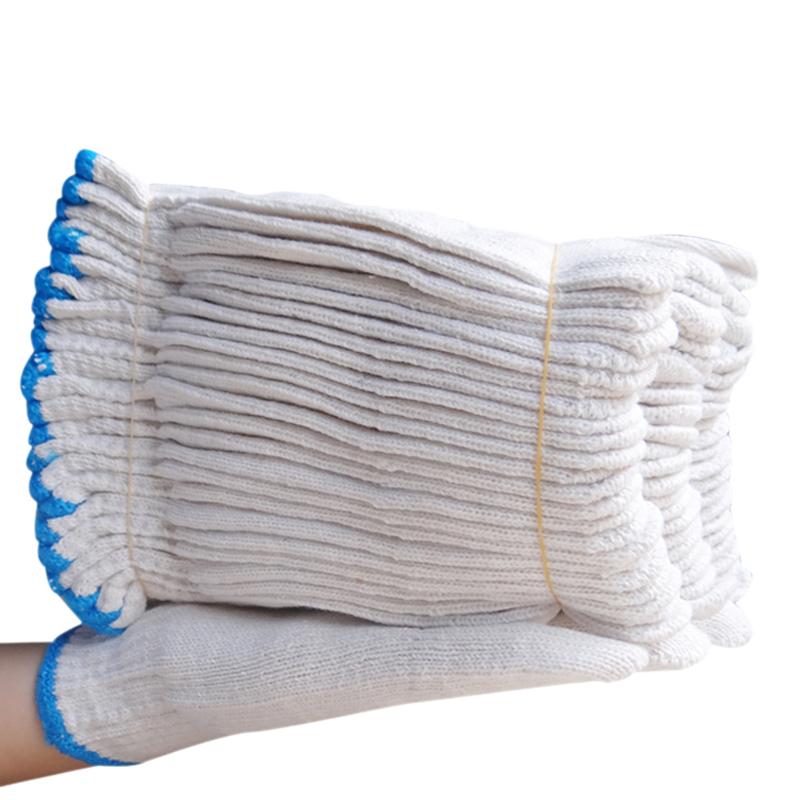 劳保手套棉纱白色尼龙耐磨棉线白薄款加厚纯棉纱线劳动男手套厂家