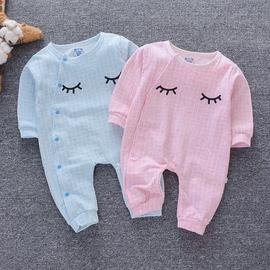 婴儿连体衣服双层春秋装纯棉0-3个月男女宝宝新生儿爬服外穿6幼儿图片