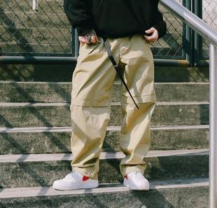 US联邦街牌弹力宽松可调节裤脚工装裤BBOY练舞纯色街舞滑板休闲裤