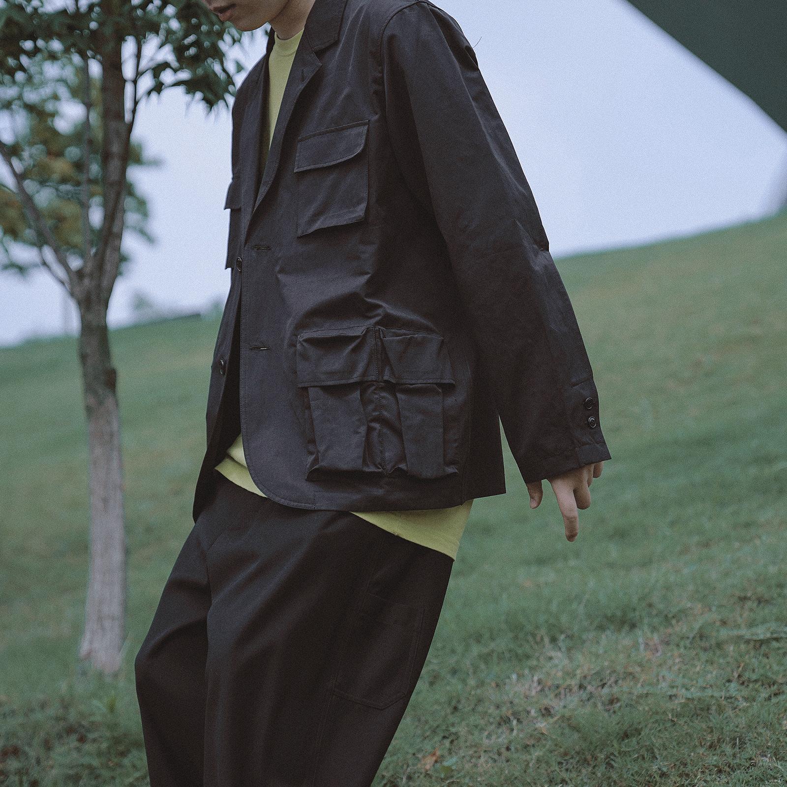 AMFINE19AW多口袋潮牌西装夹克外套宽松纯色复古秋两粒扣个性国潮