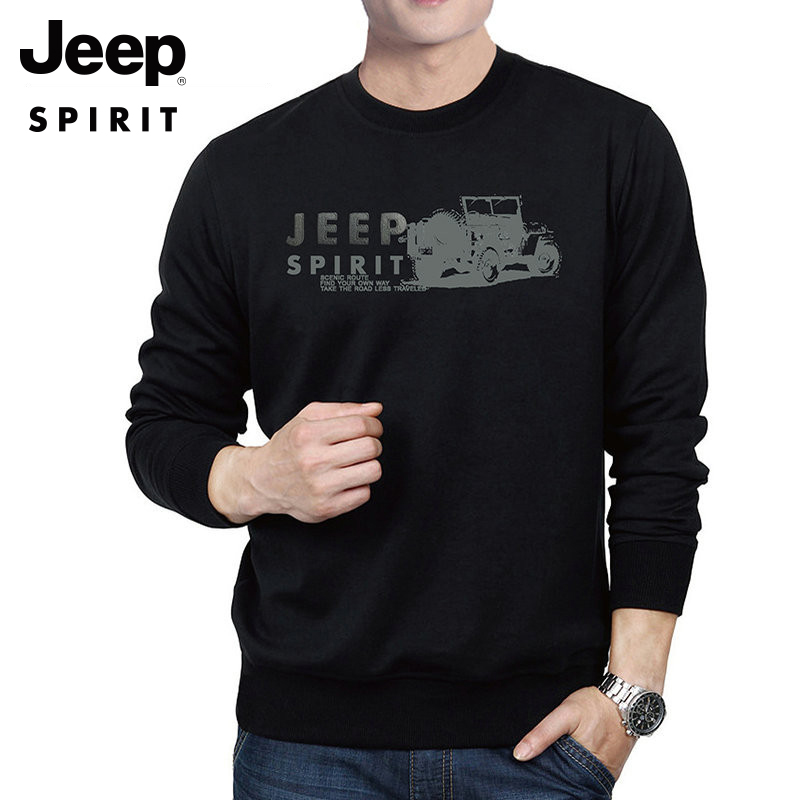 Jeep round neck sweater mens spring and autumn new loose casual Pullover mens long sleeve bottoming shirt black upper garment