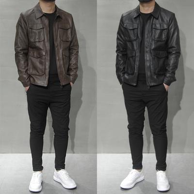 2020春季新款皮夹克男多口袋上衣外套韩版修身休闲翻领PU皮衣茄克