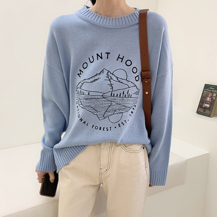 South Korea buys light mature womens clothing 2021 spring new Korean version simple pattern jacquard loose casual sweater sweater