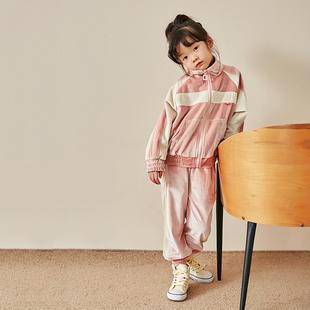 梨小閒女童2020秋冬新款兒童韓絲絨運動休閒外套+長褲兩件套裝