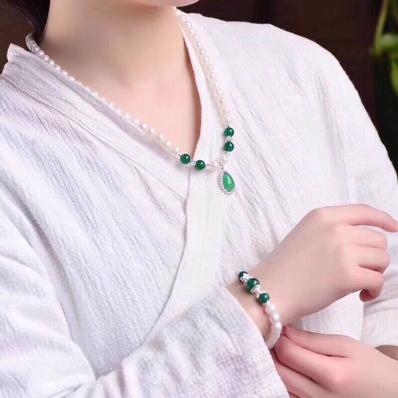 Authentic pearl necklace bracelet Goddess Necklace Mothers Day gift birthday gift jade jade jewelry