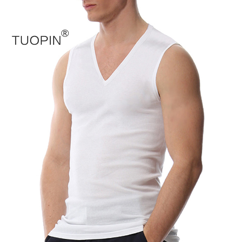 Cotton V-neck fitness tight elastic sports vest mens summer wide shoulder bodybuilding sleeveless top plus size