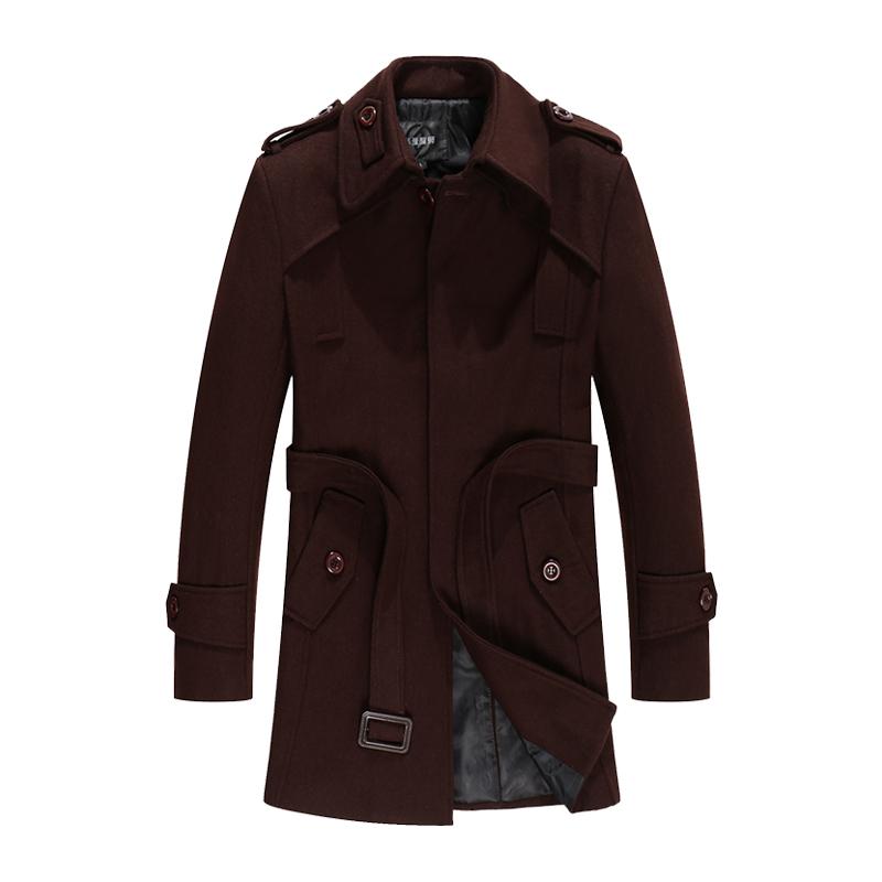 反季特价销售韩版男士毛呢大衣中长款修身加厚羊毛呢子外套男风衣