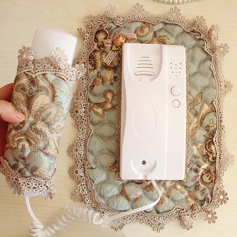 门铃套防尘罩 装饰墙贴布艺保护套 欧式刺绣蕾丝对讲机可视电话罩 Изображение 1