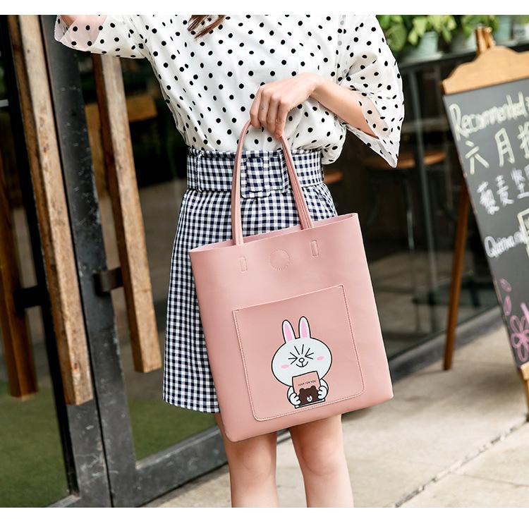 大学生上课单肩包手提包软皮少女手拎包装书韩版购物袋校园大容量