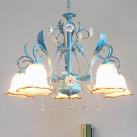 地中海田园风格吊灯创意个性北欧式花草蓝色花朵客厅餐厅卧室灯具