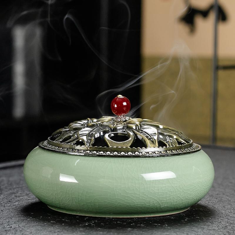 香炉熏香家用室内檀香炉蚊香盘托沉香盘香炉陶瓷大号供佛香薰炉
