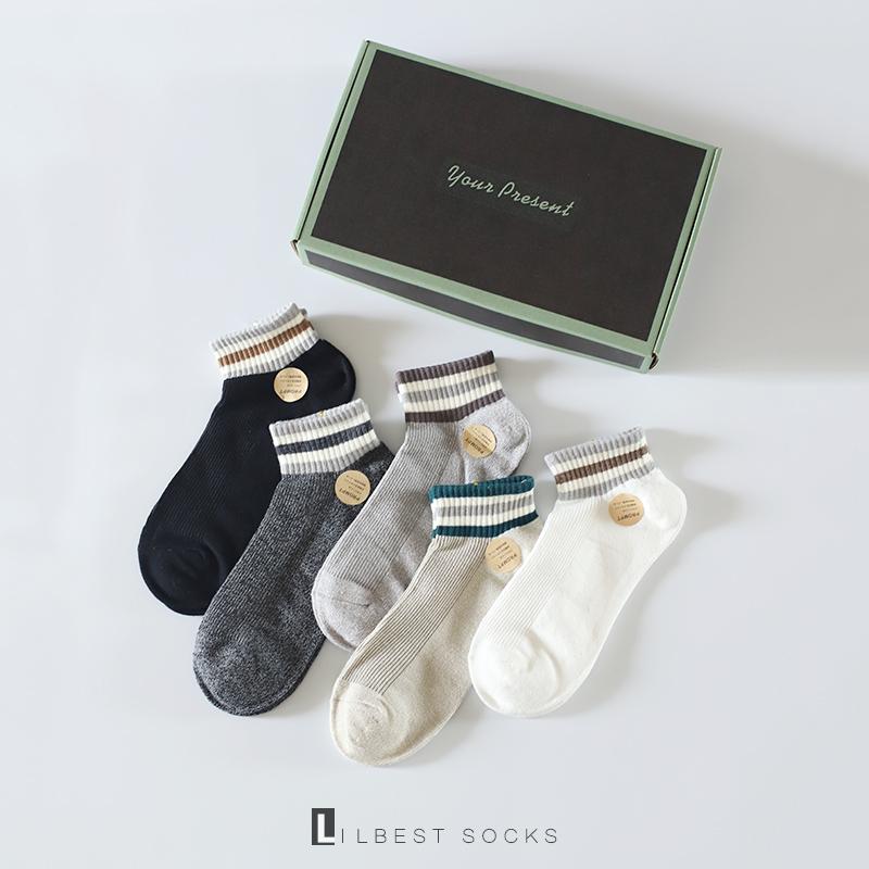 礼盒夏季男士学院风三条杠纯棉船袜19.90元包邮