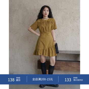 欧阳喜法式显瘦短袖连衣裙子桔梗收褶不规则设计中裙女夏2020新款