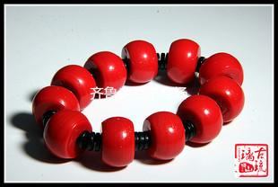 老琉璃珠子14*20mm大紅色 中國紅大鼓形算盤老琉璃散珠  琉璃手鍊