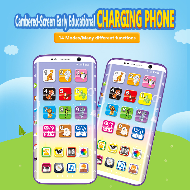 Yphone English two sided mobile phone touch screen charging childrens toys music phone story early education learning machine