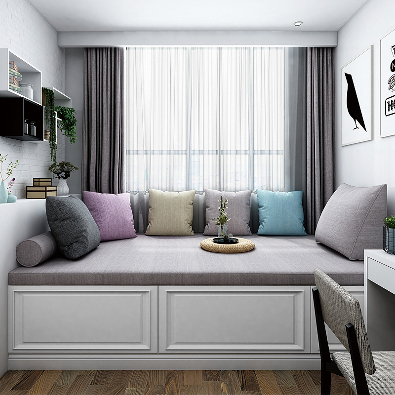定做阳台榻榻米坐垫飘窗垫子 窗台垫北欧高密度海绵沙发垫定制