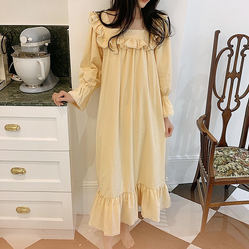 秋季过膝睡裙女纯棉宫廷风复古长款全棉蕾丝花边米白色长袖睡衣冬