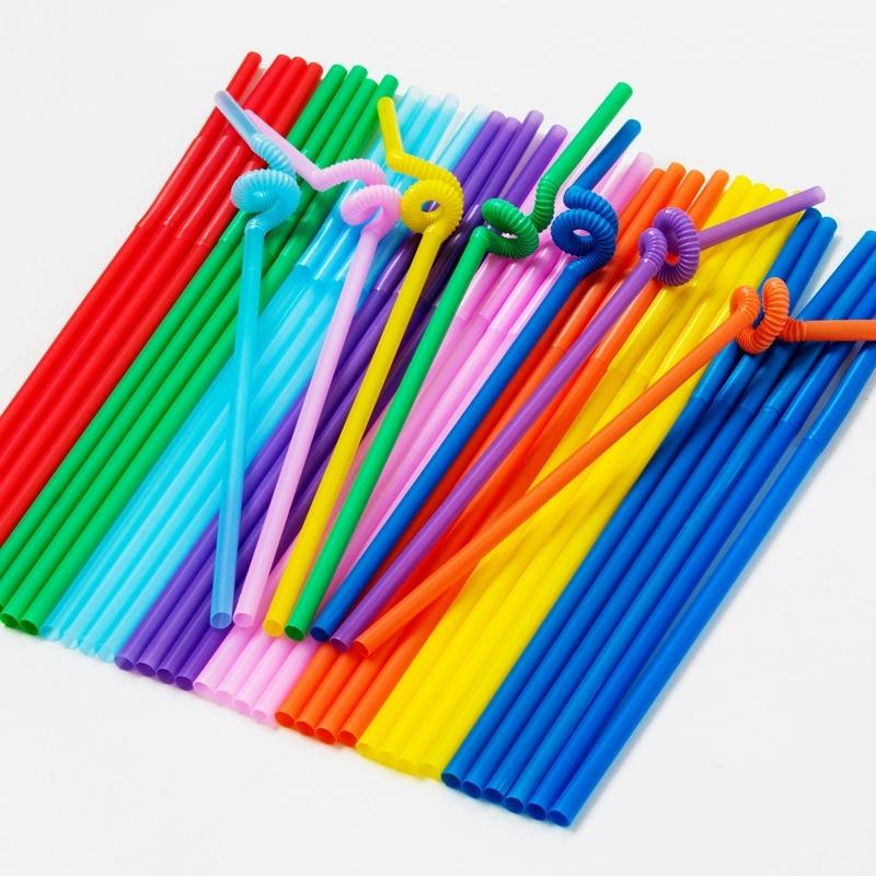 Черный цвет прозрачный высокое качество одноразовые искусство соломинка 100 филиал / пакет индивидуальная упаковка соломинка 50 филиал / пакет