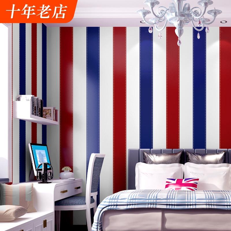欧美风墙纸纯纸复古男生男孩卧室儿童房间红蓝色竖条纹英伦风壁纸