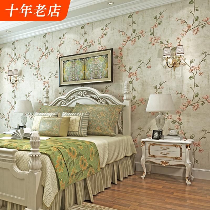 美式乡村田园无纺布墙纸小碎花欧式复古怀旧风格卧室客厅ab版壁纸