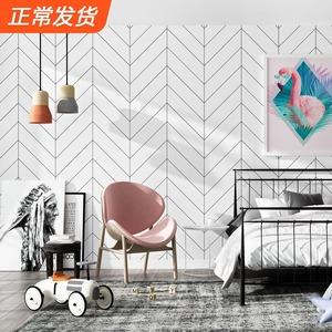 黑白格子壁纸北欧风格ins几何线条图形客厅卧室现代简约背景墙纸
