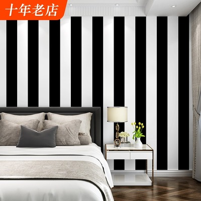 Black and white horizontal and vertical stripes wallpaper modern minimalist living room bedroom coffee restaurant clothing store TV background wallpaper