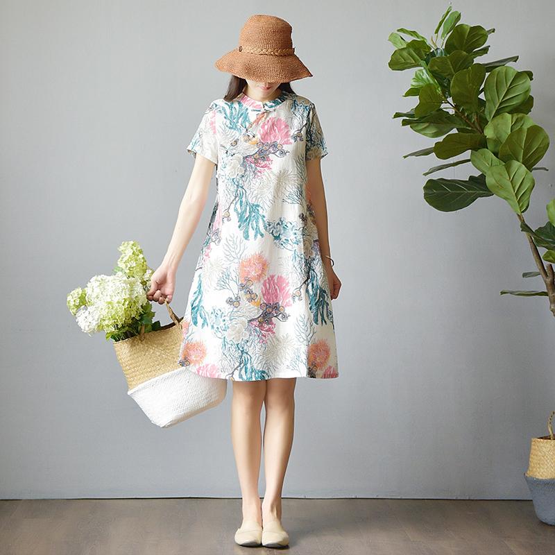 南风谷棉麻连衣裙宽松少女日常茶服中式亚麻中国风女装改良版旗袍