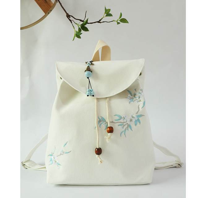 Postal embroidery retro Chinese national style literature and art Leisure Canvas embroidery Hanfu ancient style bag backpack