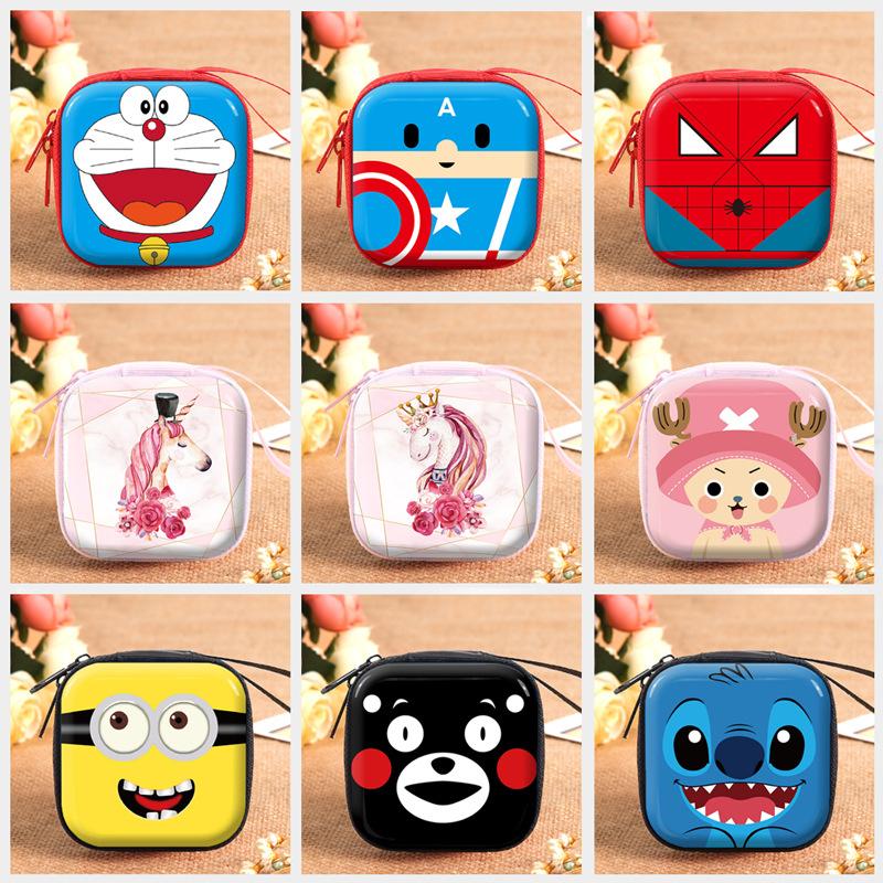 Cartoon square tinplate pocket change purse earphone cable storage box Marvel hero childrens coin storage bag