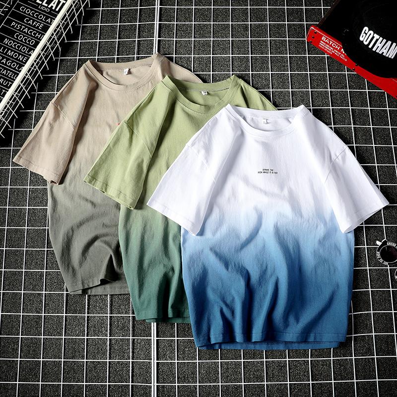 夏季渐变色运动短袖男士宽松潮t恤满55.00元可用6元优惠券
