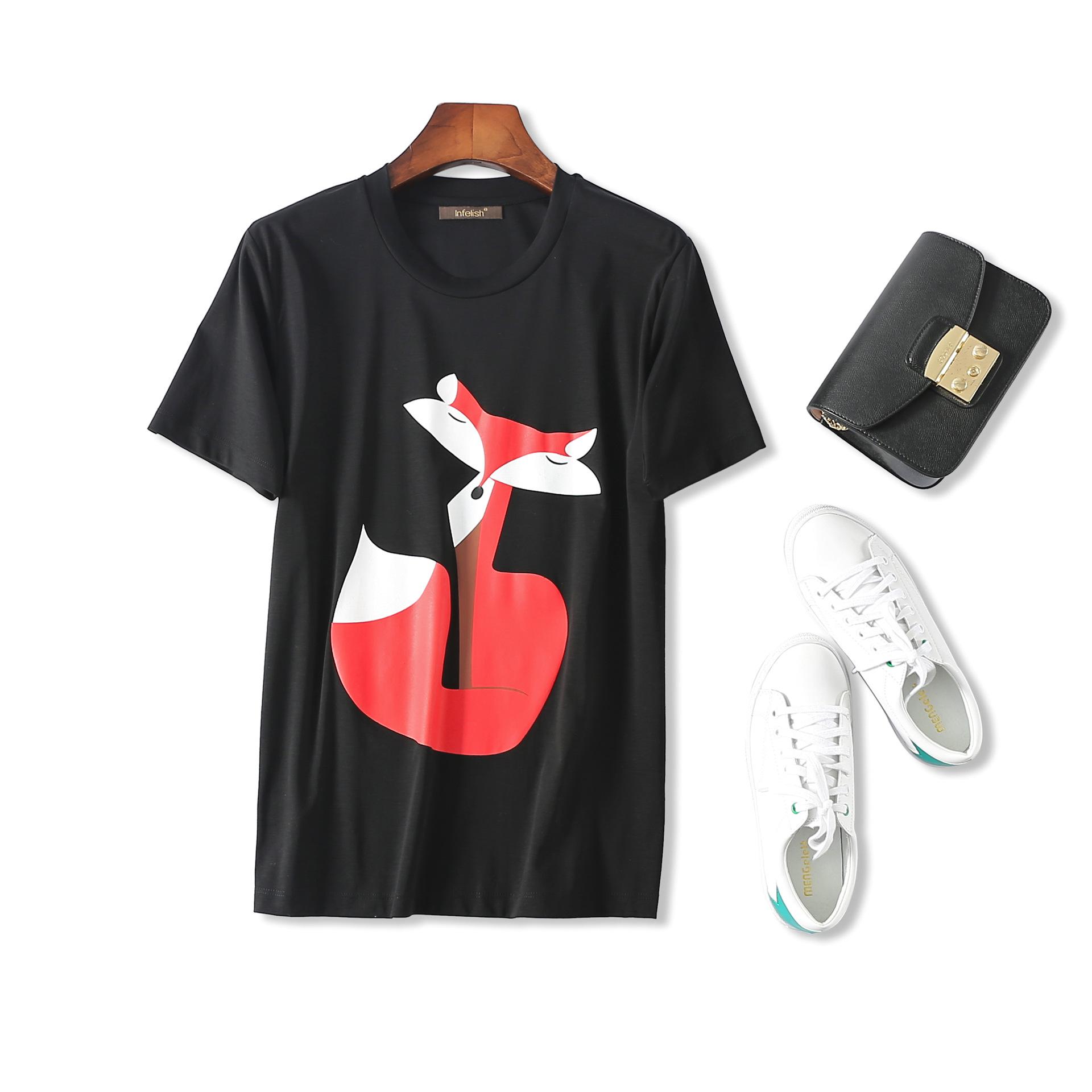 外贸原单尾货商场撤柜女装剪标小狐狸 圆领宽松丝光棉短袖T恤女
