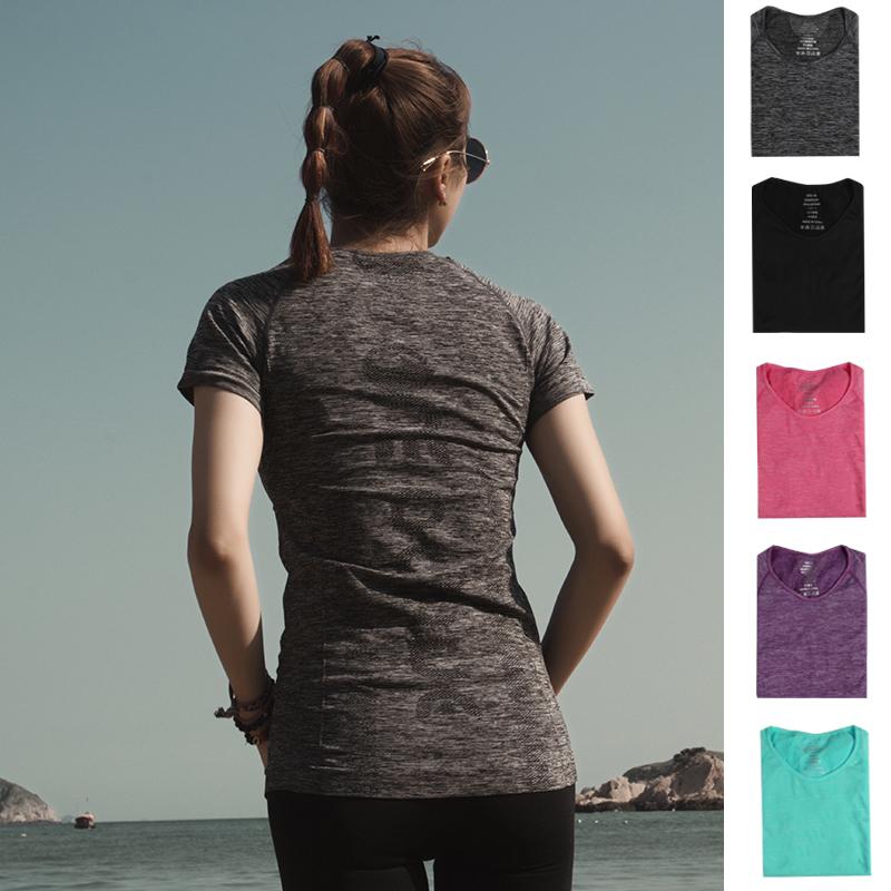 2018新款纯色跑步运动速干t恤女弹力紧身瑜伽短袖上衣健身服夏