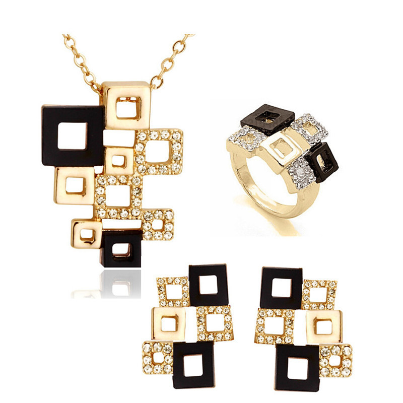 European and American jewelry set magic cube Abstract square puzzle Necklace Earring Ring Ring Jewelry Set Cross Border e-commerce hot