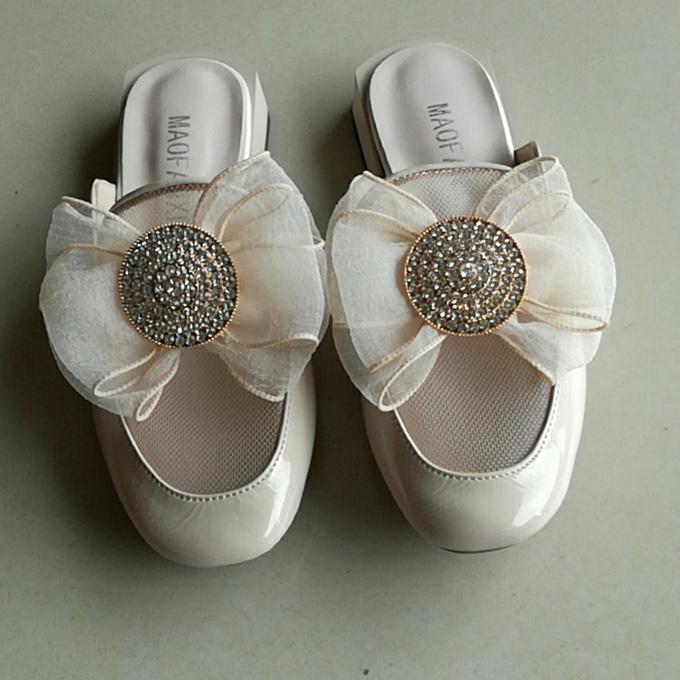 2020夏新款包邮凉鞋品牌真皮牛皮蝴蝶结低跟欧洲站时尚女包头拖鞋