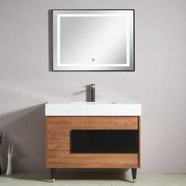 新款浴室柜洗漱台洗脸盆组合落地式北欧简约卫生间洗手盆100CM图片