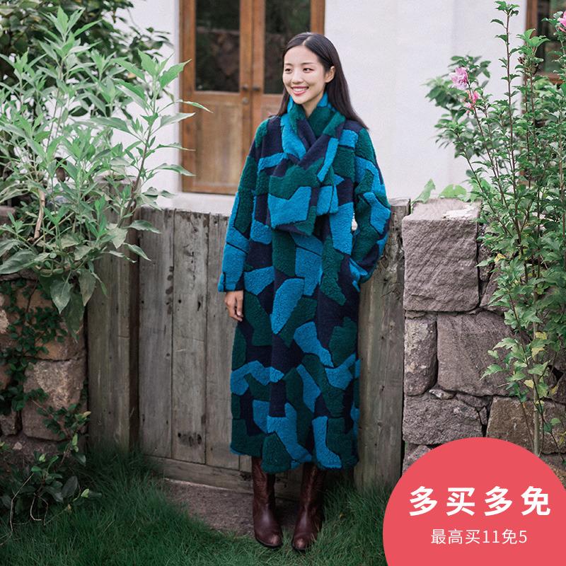 多绽放C674朵/弥生/羊毛呢几何拼色肌理感袍子2018秋冬女连衣裙