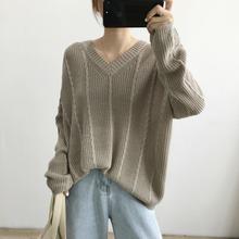 韩版V领长袖针织衫女2020秋冬季新款麻花宽松慵懒纯色外穿毛衣