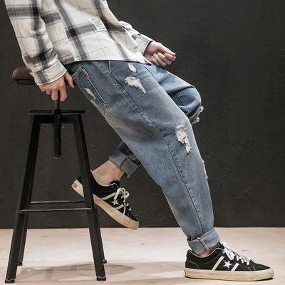 日系黑墙模特男士秋季新款牛仔裤破洞大码 款号K9522 P65【控88】