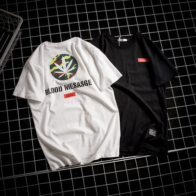 日系网格风印花圆领夏季休闲宽松男士短袖T恤 款号3719 P35