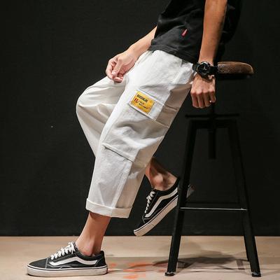 日系黑墙风夏季男士大码宽松九分休闲裤潮 款号K591 P45【控68】