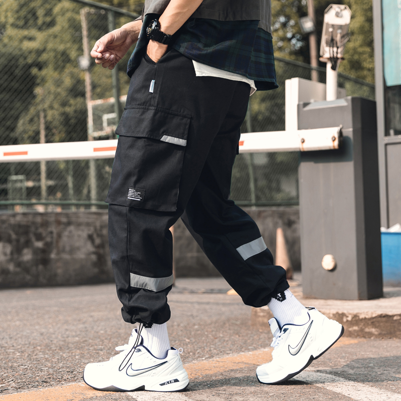 2019夏秋季新款外景日系大码原创反光荧光男九分裤休闲裤K370-P55