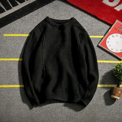 MY02日系秋冬新款男士纯色圆领套头针织毛衣加肥大码P65【控88】