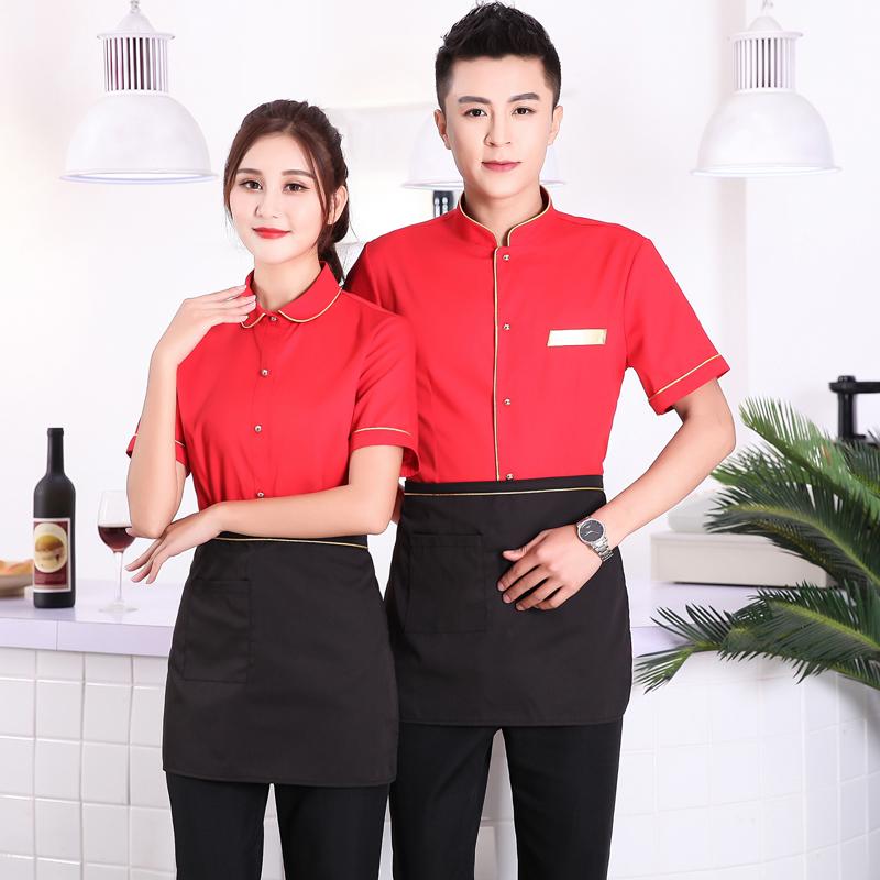 茶楼中餐厅服务员工作服夏季装短袖衬衫蛋糕烘焙面包店茶楼工衣女
