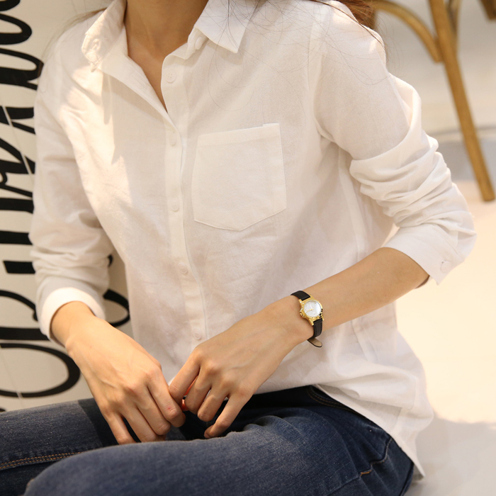 100%亚麻白色衬衫 春夏季职业工装 学生上班OL通勤长袖女款打底衫