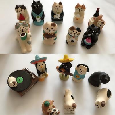 zakka可爱卡通创意日式decole猫迷你桌面树脂工艺摆件微景观造型