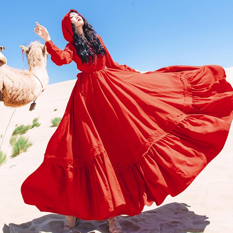 青海湖旅游度假拍照裙子红色草原沙漠长裙超仙大摆显瘦连衣裙秋天