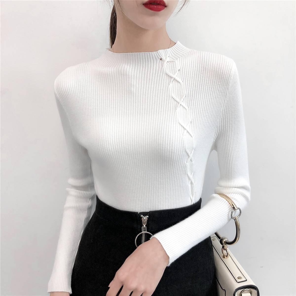 2019最新款 半圆领抽绳针织修身显瘦纯色上衣