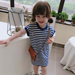 2020夏季新款儿童休闲中长款连衣裙 女童海军风蓝条纹短袖T恤裙潮