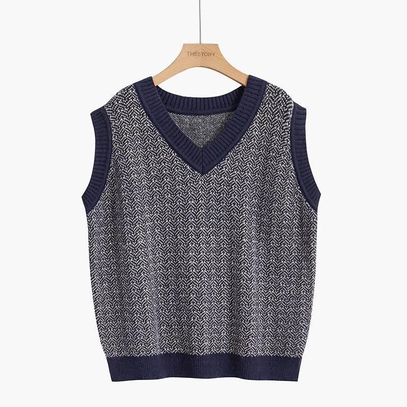 Vest womens 2021 new spring and autumn sleeveless V-neck T-shirt vintage pattern vest sweater loose jacket