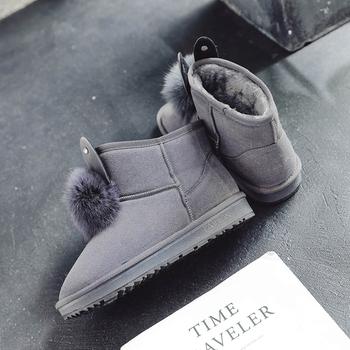 可爱兔耳朵毛毛加绒保暖舒适雪地靴